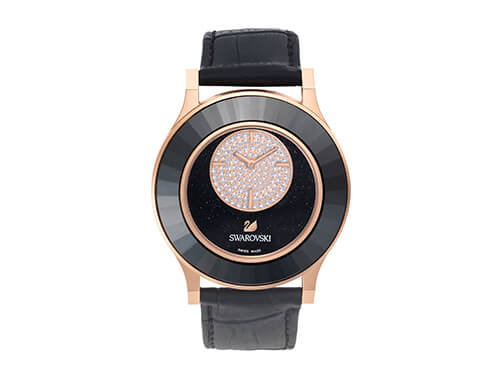 Swarovski Black Rose Gold Tone Watch