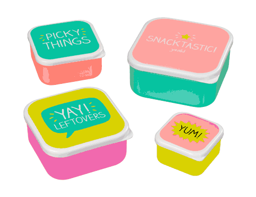 Happy Jackson Snacktastic Containers - Set Of 4