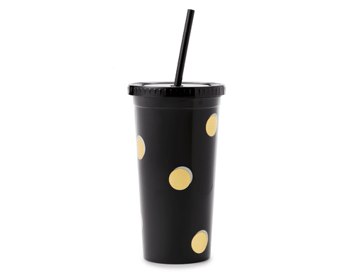 Kate Spade New York Insulated Tumbler with Straw, Scatter Dot
