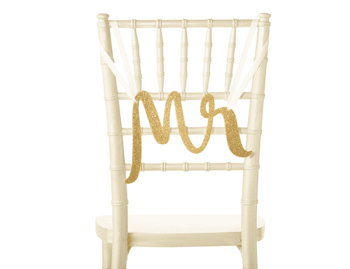 Kate Spade New York Bridal Chair Signs, Mr. & Mrs. (Gold)