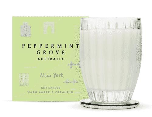 Peppermint Grove New York - Warm Amber & Geranium Candle 350g