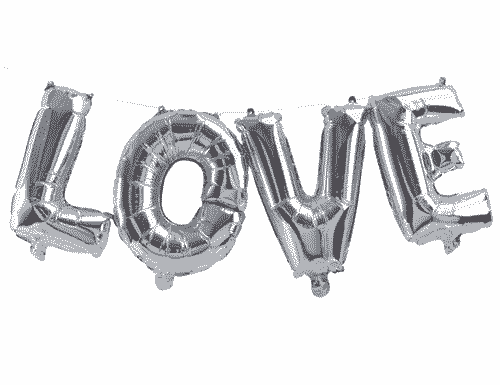 Silver Love Balloon Bunting