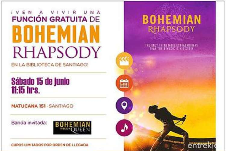 Película Bohemian Rhapsody en la Biblioteca de Santiago