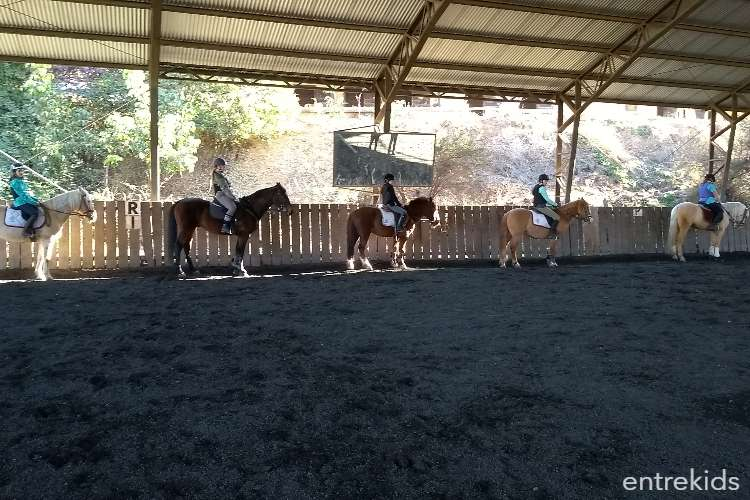 Clase de prueba de Equitación en la Escuela de Ponies Internacional