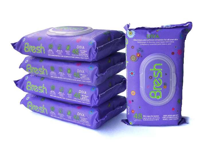 Pack 5 Toallas Húmedas Femeninas Bresh Diva x48