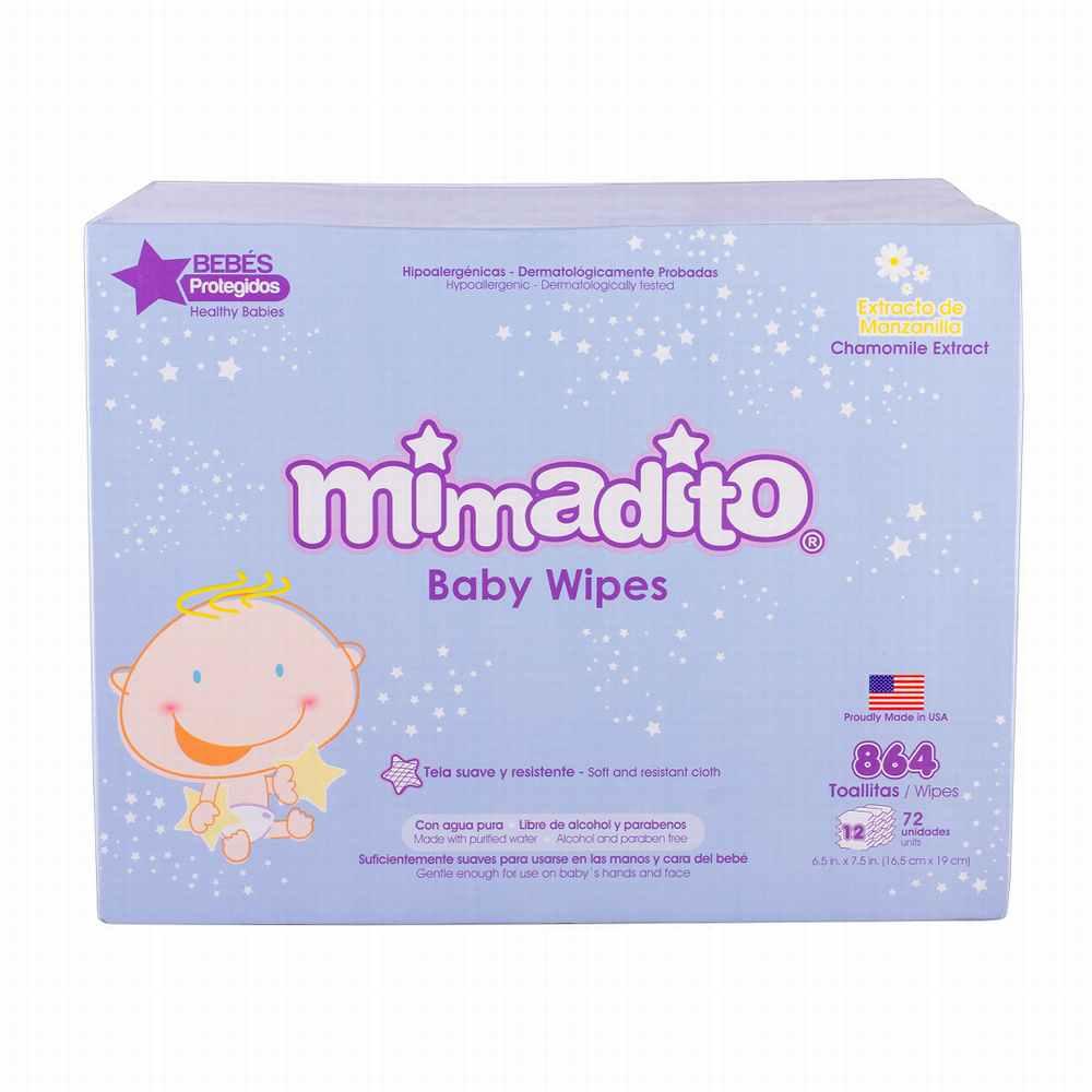 Caja 12 Toallas Húmedas Premium para Bebe Mimadito 72un