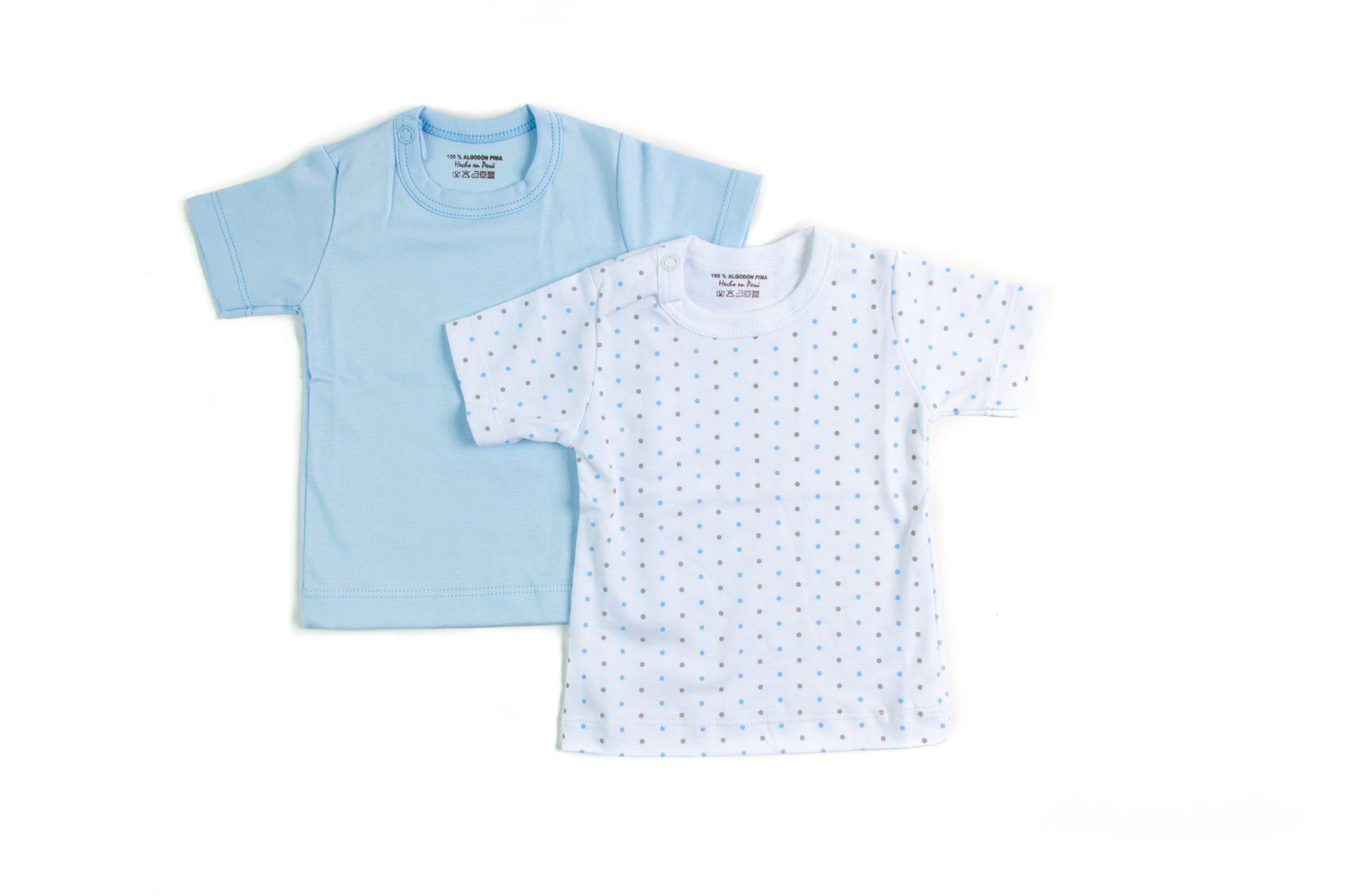 Pack 2 Camisetas Lunares Celeste Manga Corta Algodón Pima