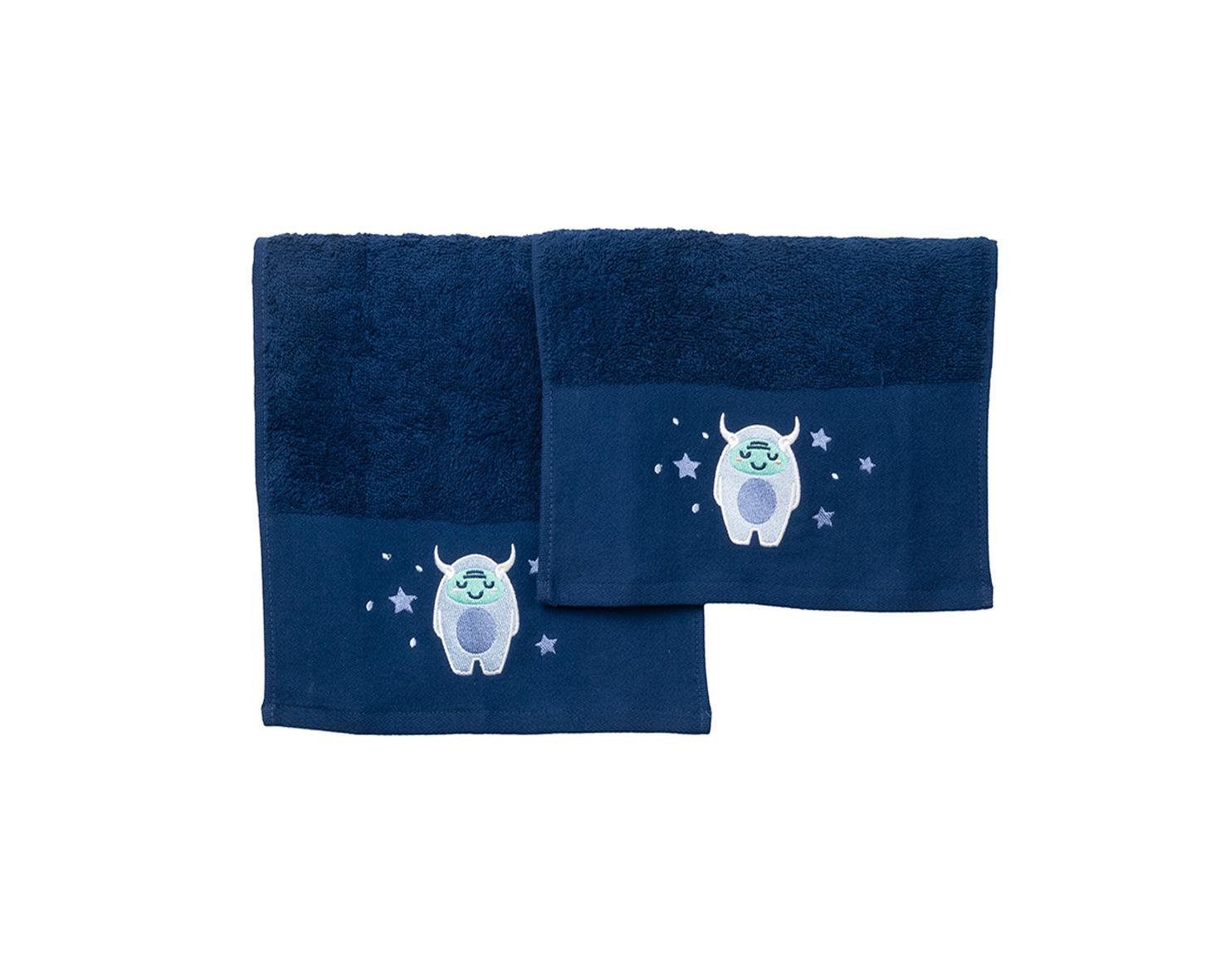 Set 2 Toallas Bprdadas Yeti Azul