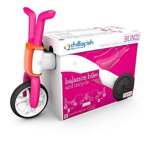 Bicicleta De Equilibrio Niños Chillafish Rosada Bunzi Aprend