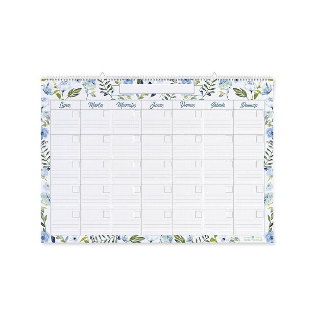 Calendario Flores Azules Grande