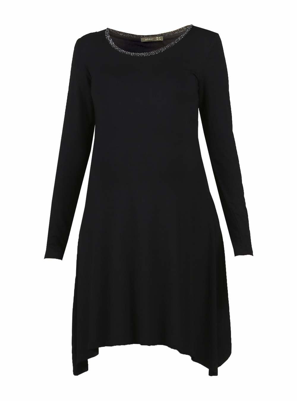 Vestido Negro Cuello Plateado