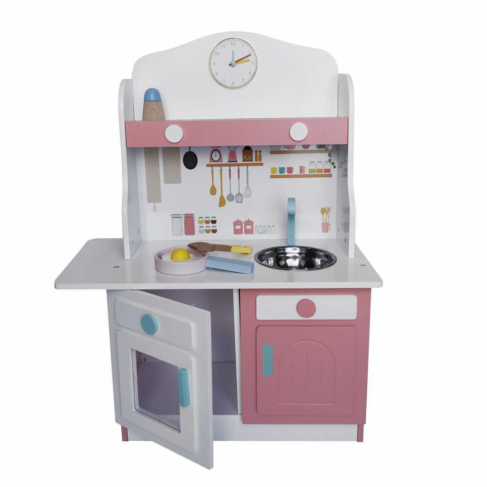 Cocina blanca con rosado