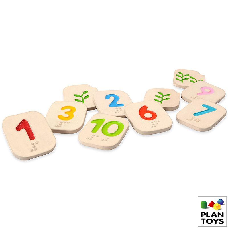 Juego número braille de madera