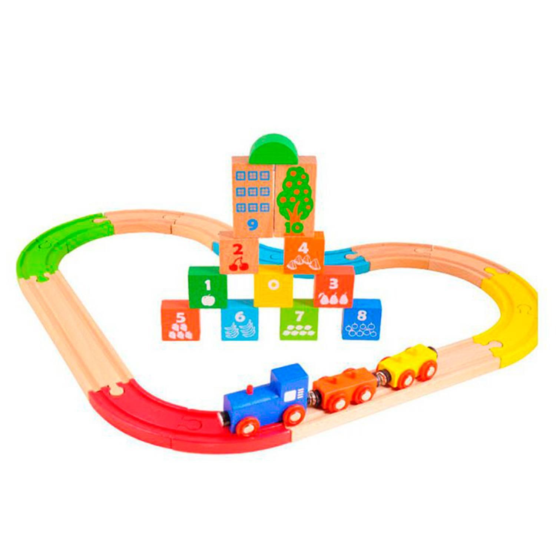 Pista de Tren Colores Madera