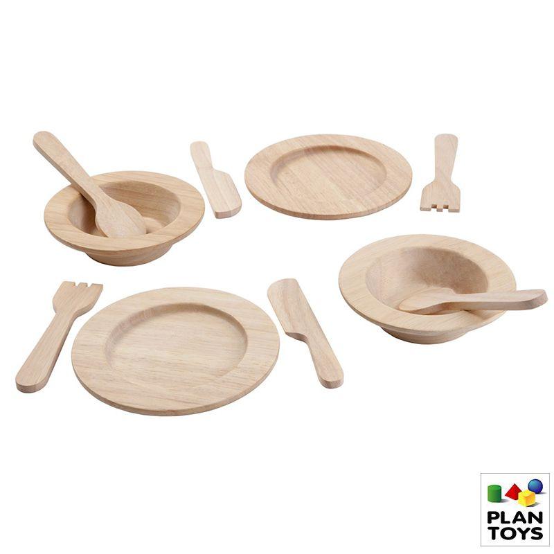 Set de Platos y servicios de madera