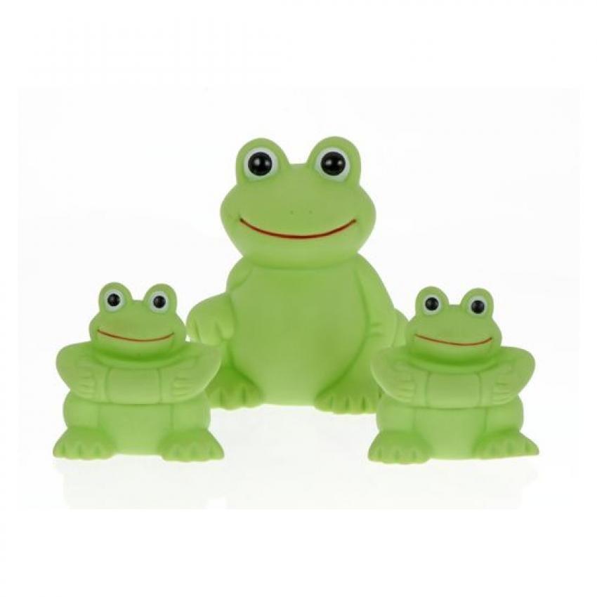 Familia de ranas para el baño