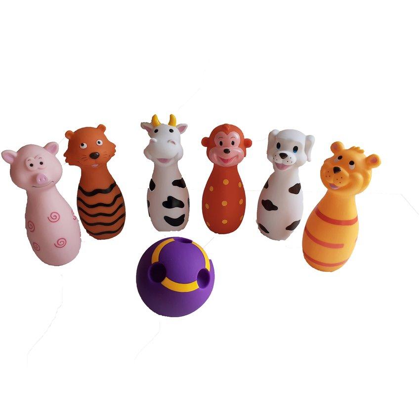 Bowling de animales de goma para bebes