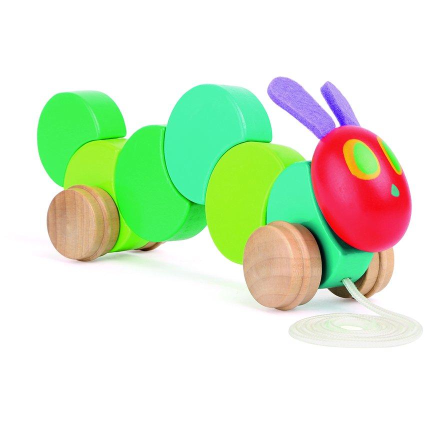 Animalito de madera para arrastrar La Oruga Glotona