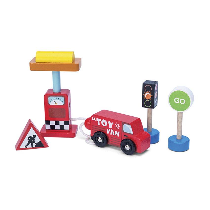 Car + Petrol Pump Set Conjunto Automotriz Niños Madera