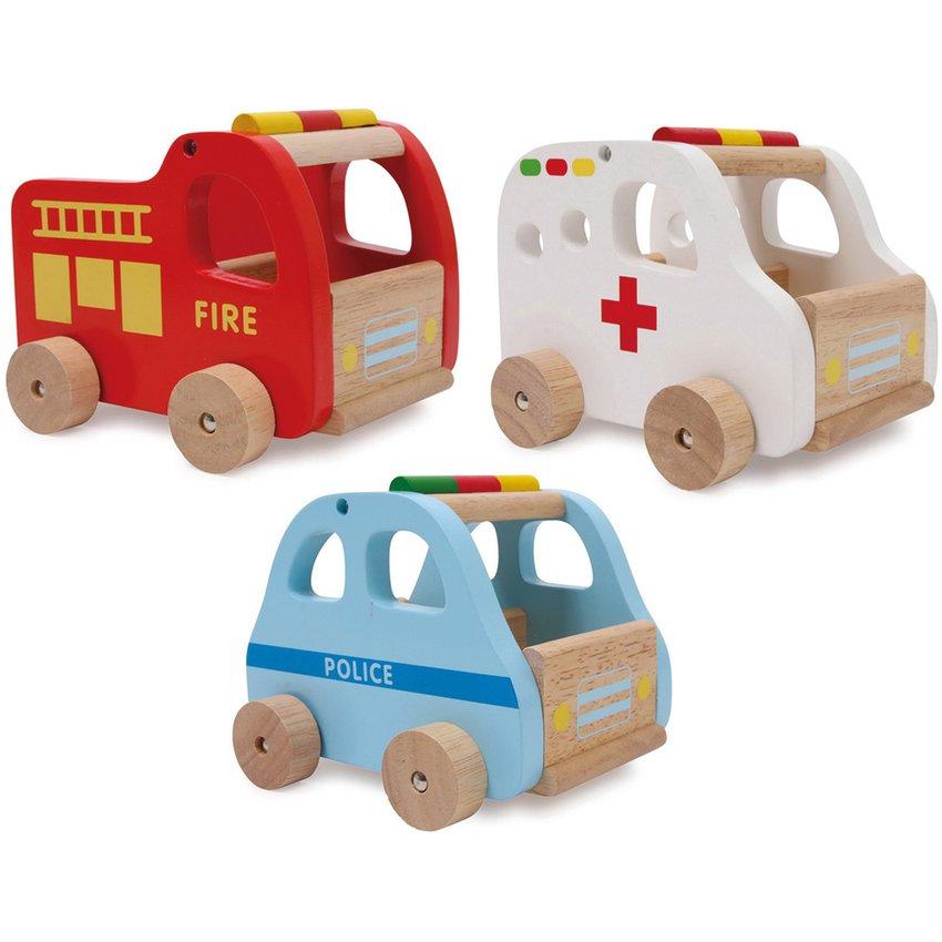 Autos de Madera Ambulancia Color Blanco Niño