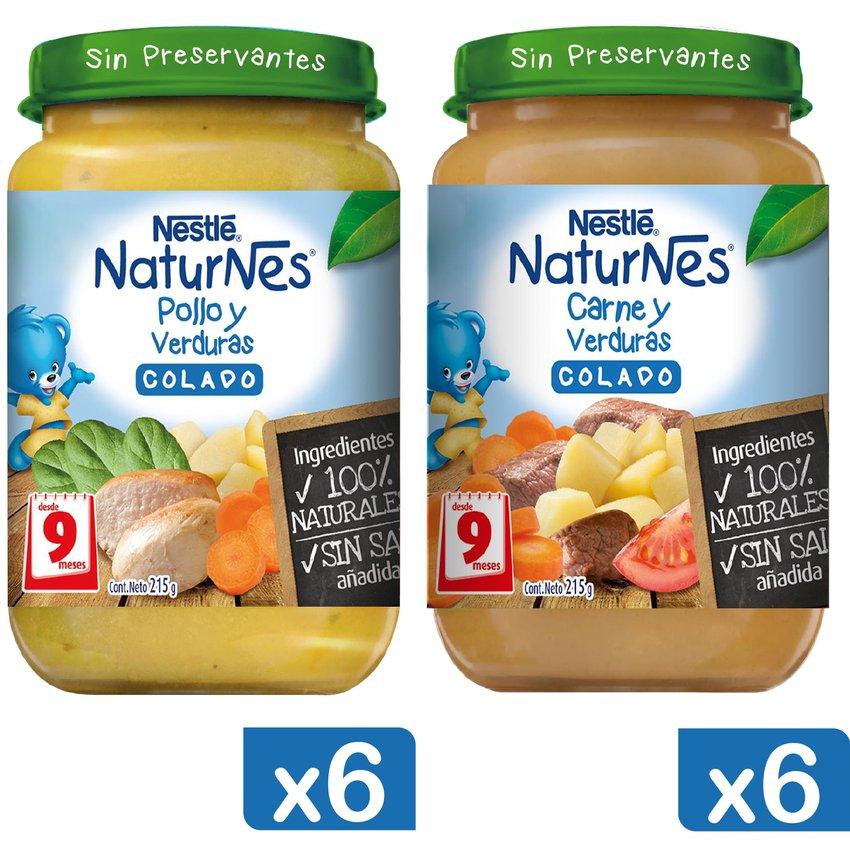 Colado NESTLÉ® NATURNES® Pollo y Carne 215g X12 Frascos