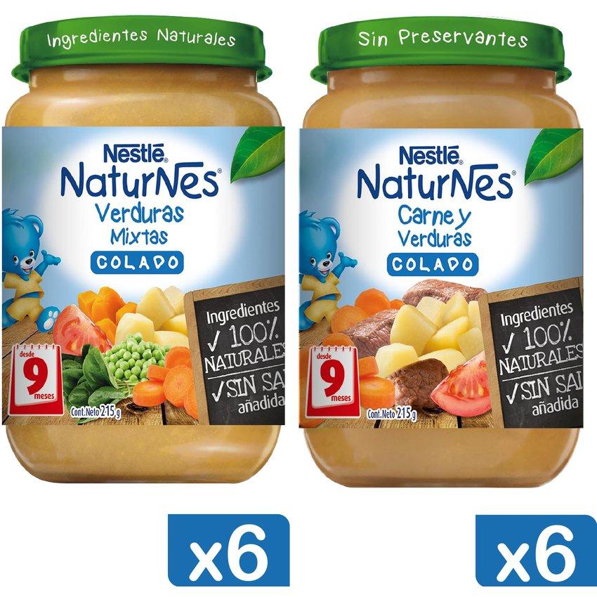 Colado NESTLÉ® NATURNES® Carne y Verduras 215g X12 Frascos