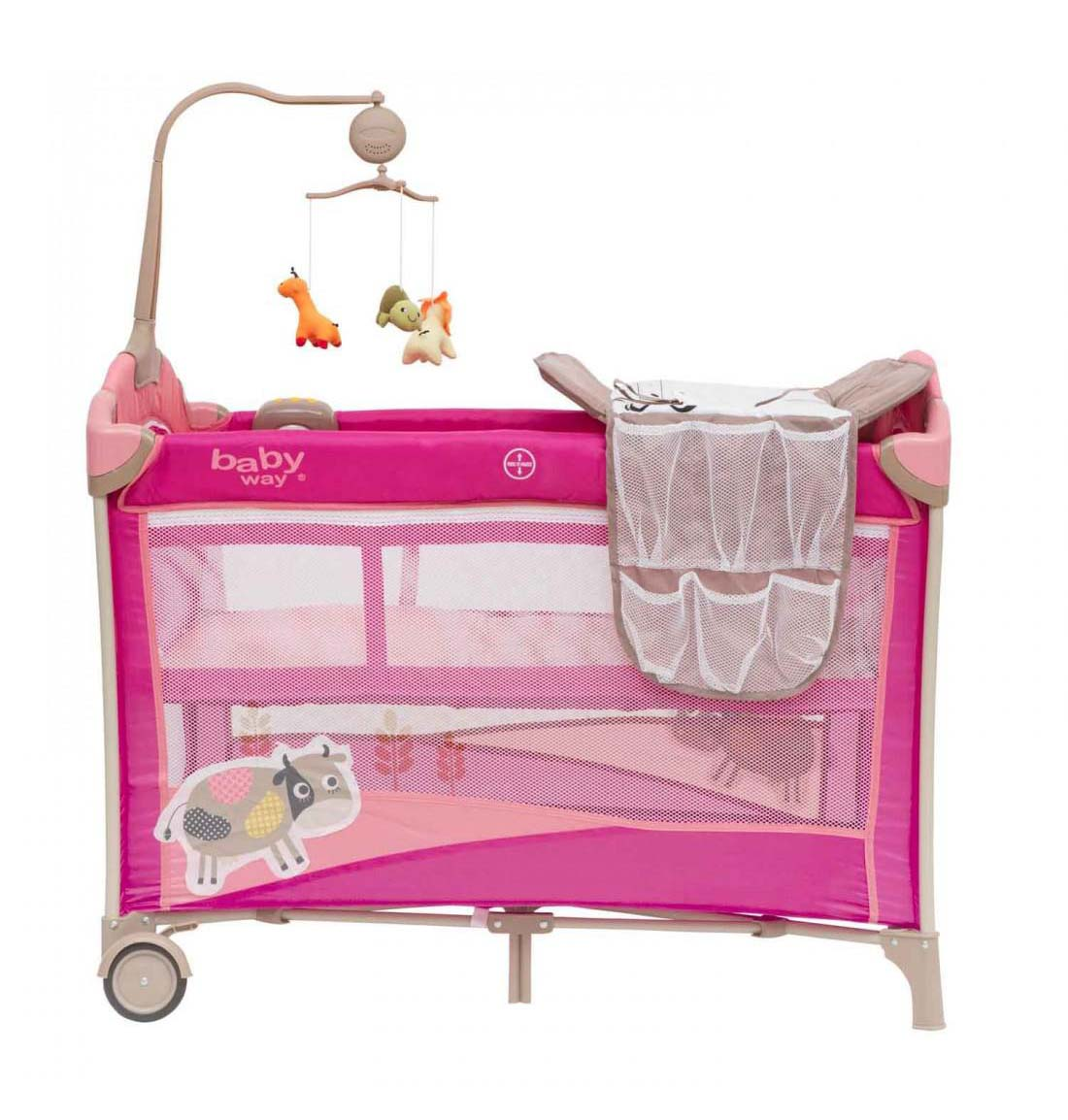 Cuna Pack & Play Baby Way Rosado