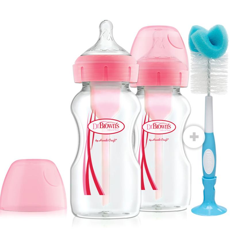 Pack 2 mamaderas boca ancha 270ml rosada + cepillo