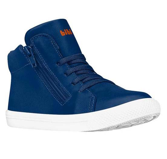Zapatilla Cuero Caña Alta Azul