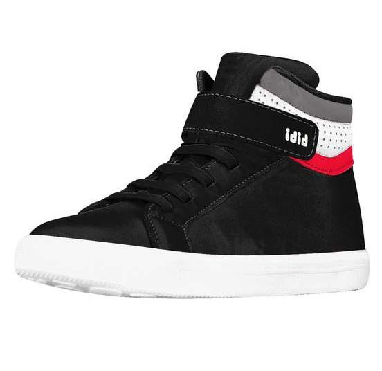 Zapatilla Cuero Caña Alta Con Elasticos Y Velcro Drop Negro
