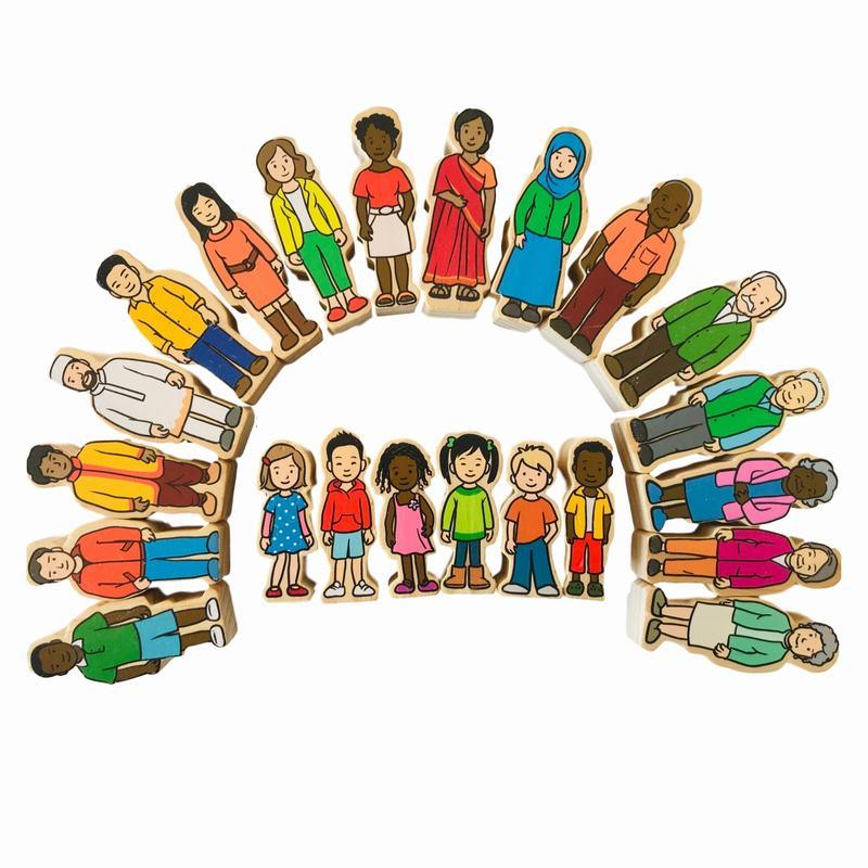 Woodis Personas, Familias del Mundo , 22 Piezas