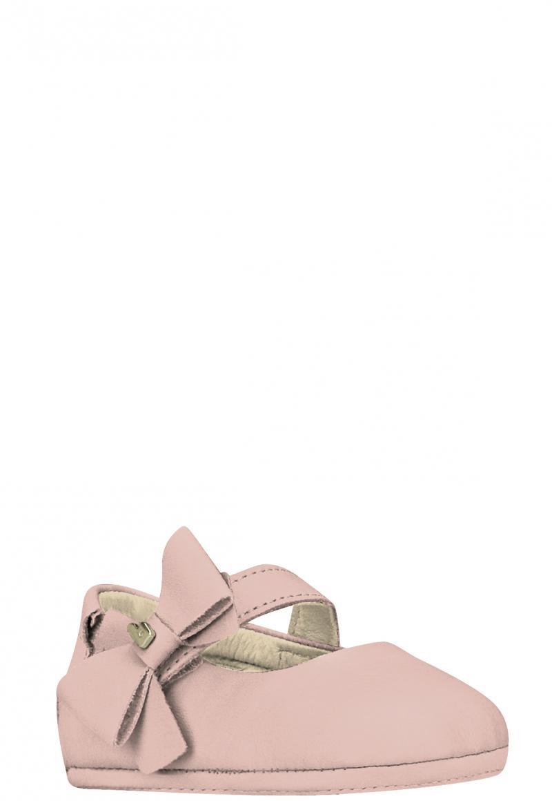 Zapatilla Cuero Rosa Moño