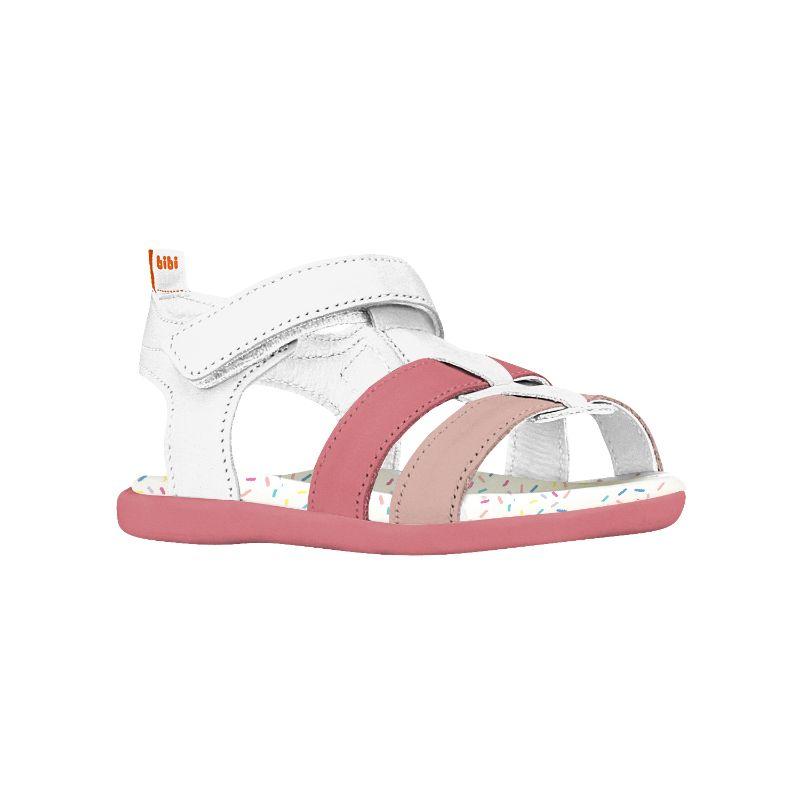 Sandalia Cuero Baby Soft Rosa y Blanco