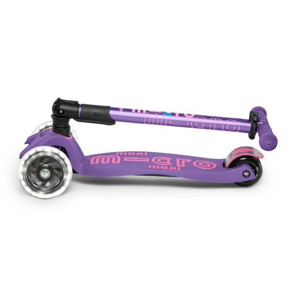 Micro Scooter Maxi Deluxe PLEGABLE LED Morado