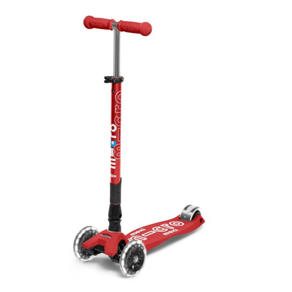 Micro Scooter Maxi Deluxe PLEGABLE LED Rojo