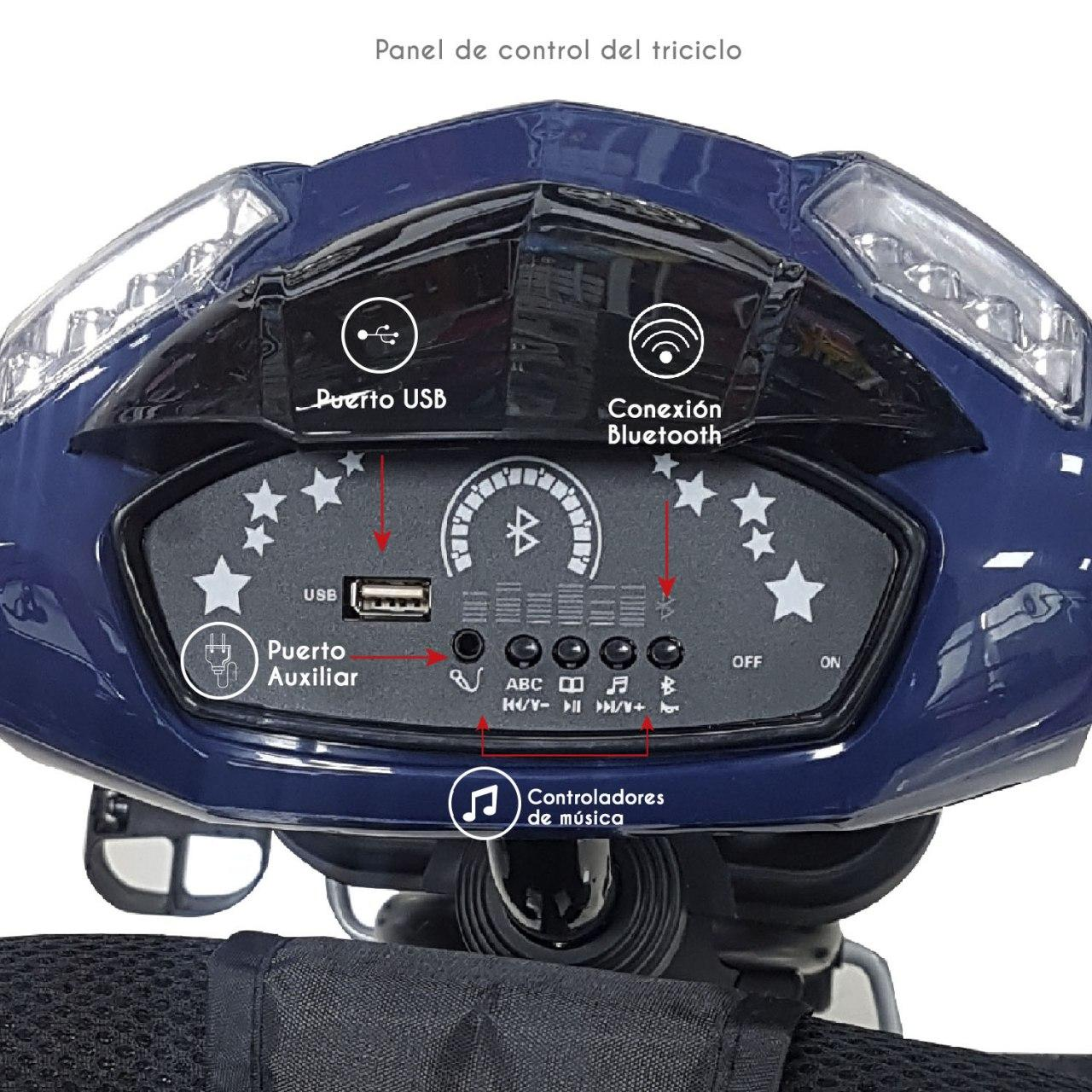 Triciclo Bebeglo Bluetooth One Click - Azul