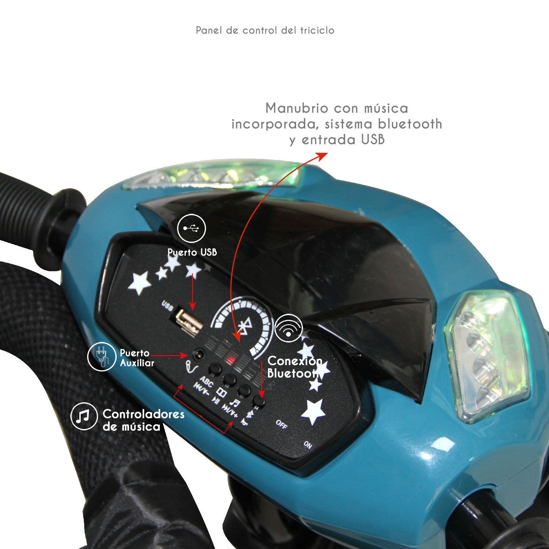 Triciclo Bebeglo Bluetooth One Click - Turquesa