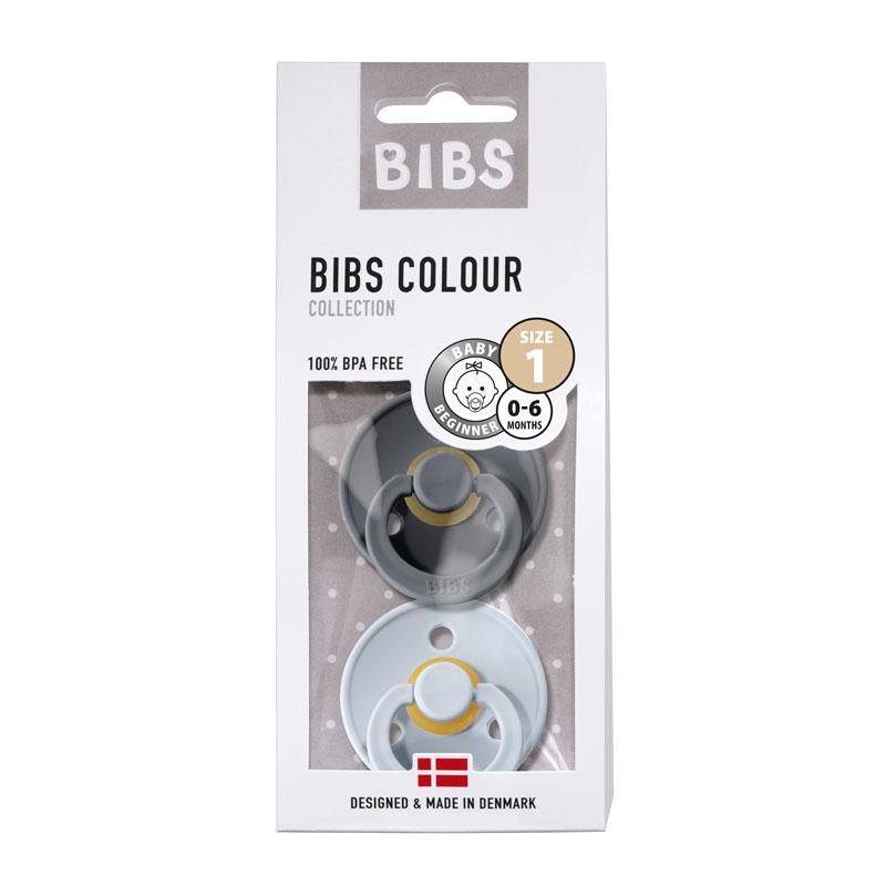 Chupete Bibs Colour X2 Talla 1 Iron/Baby Blue