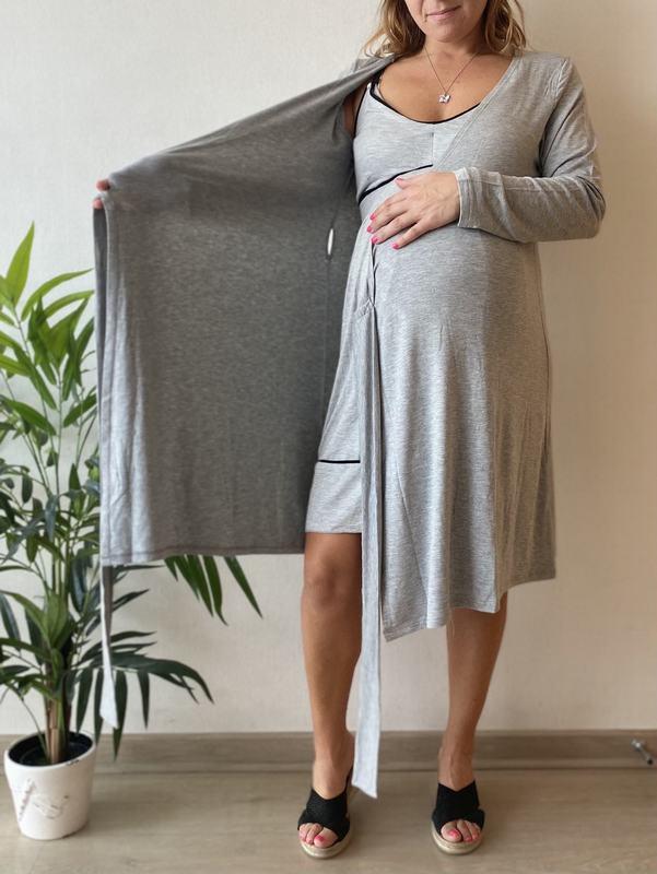 Bata Maternal Y De Lactancia Gris RW ROBE MG L