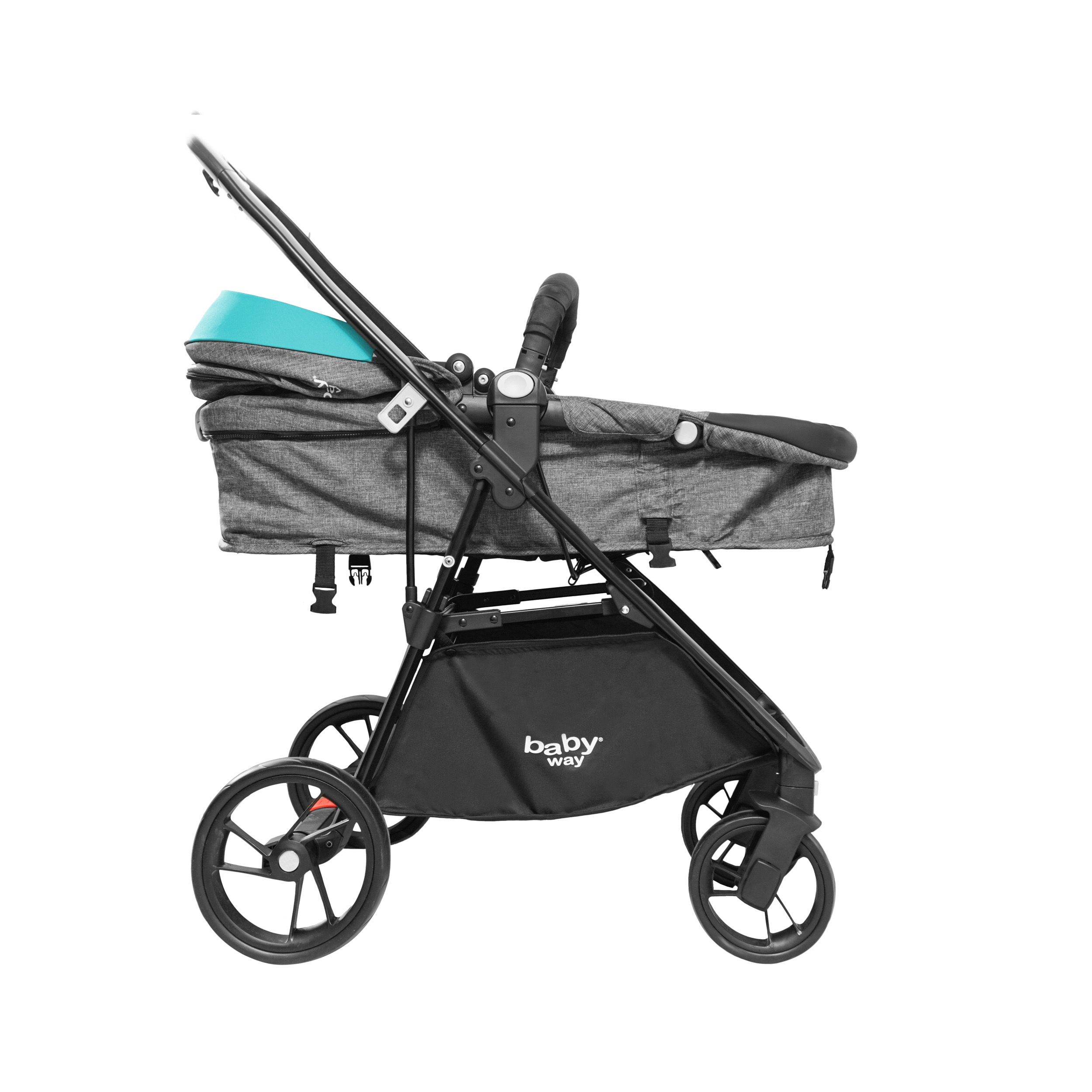 Coche Travel System Baby Way Turquesa Bw-412
