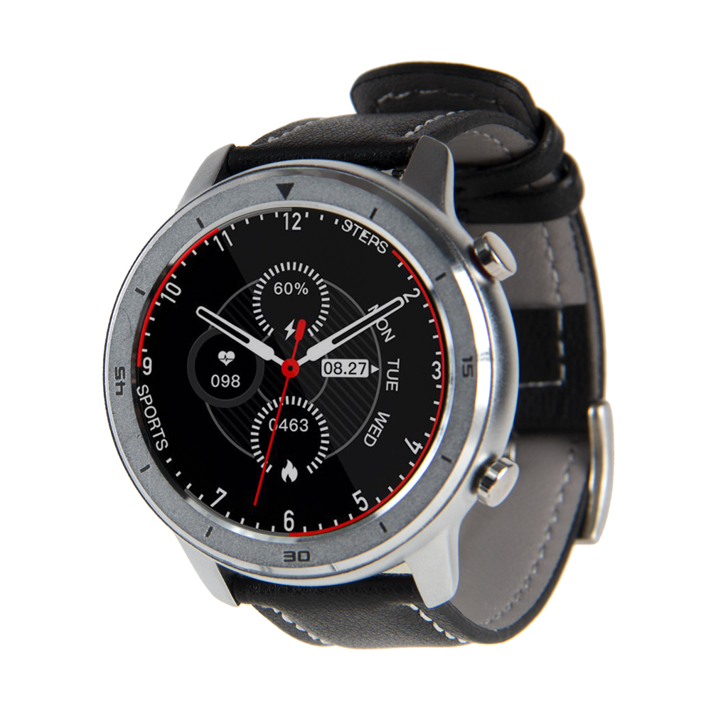 Reloj Smartwatch Lhotse RD7 Plateado Cuero Negro