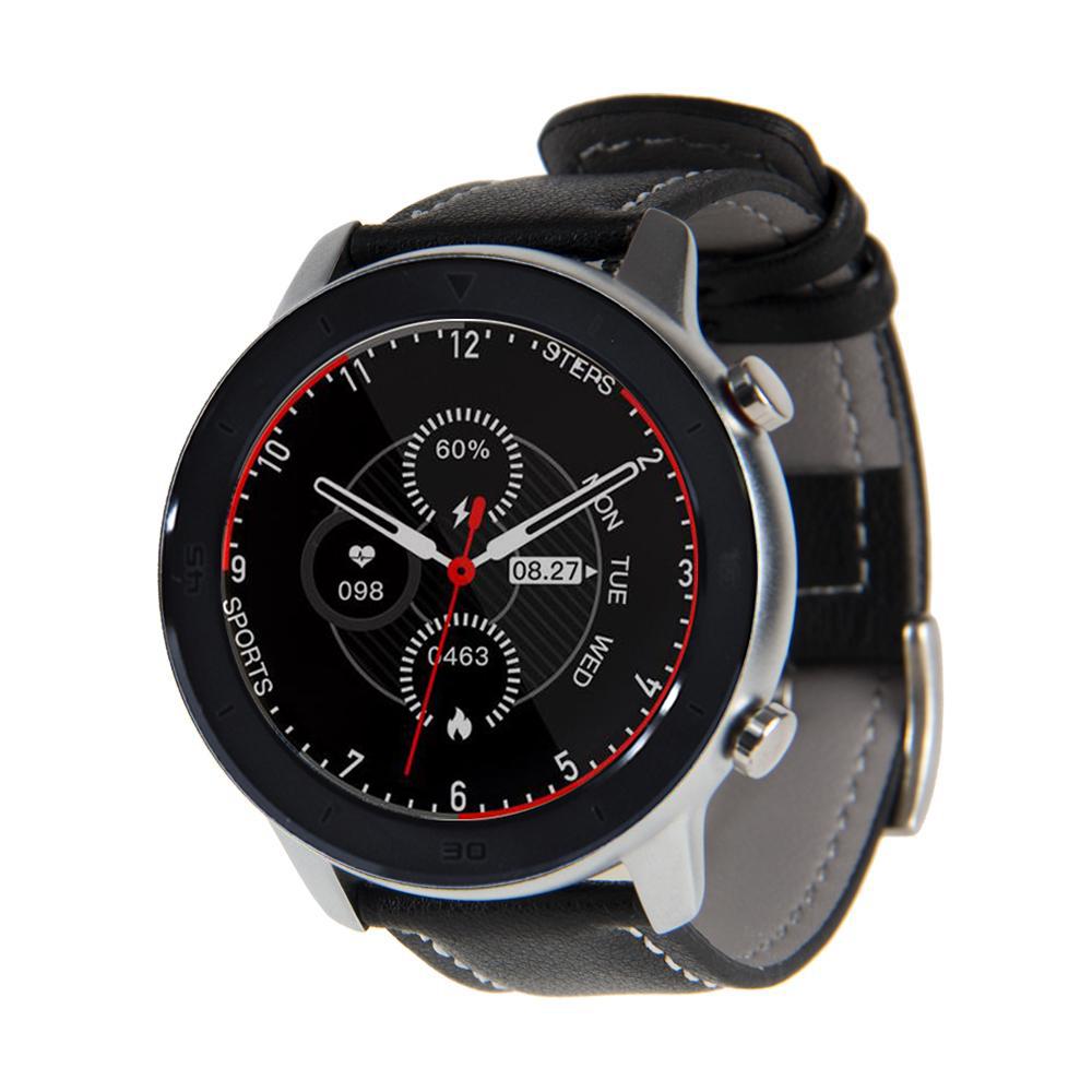 Reloj Smartwatch Lhotse RD7 Dark Silver Cuero Negro