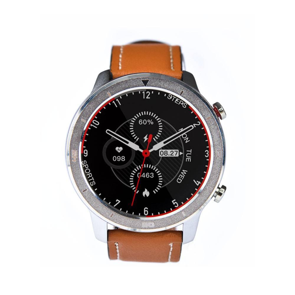 Reloj Smartwatch Lhotse RD7 Plateado Cuero Café Claro