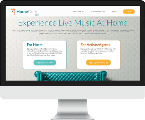 Screen view of the HomeDitty website
