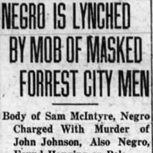 Samuel McIntyre Lynching Article