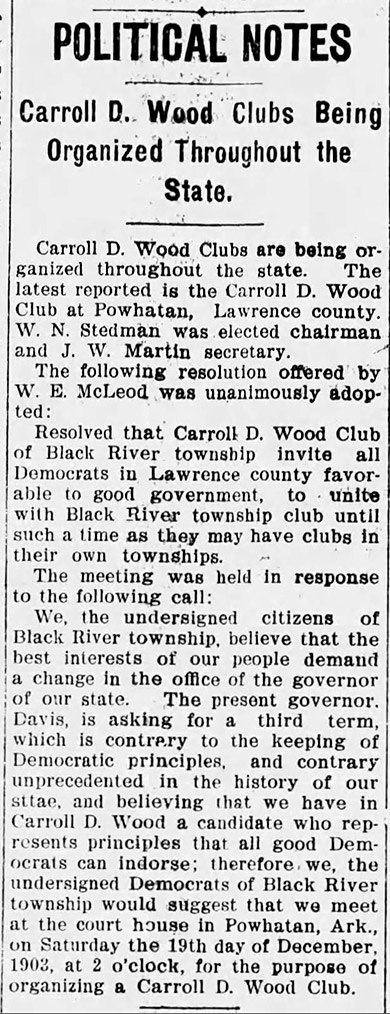 Carroll D. Wood Supporters Article