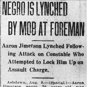 Aaron Jimerson Lynching Article