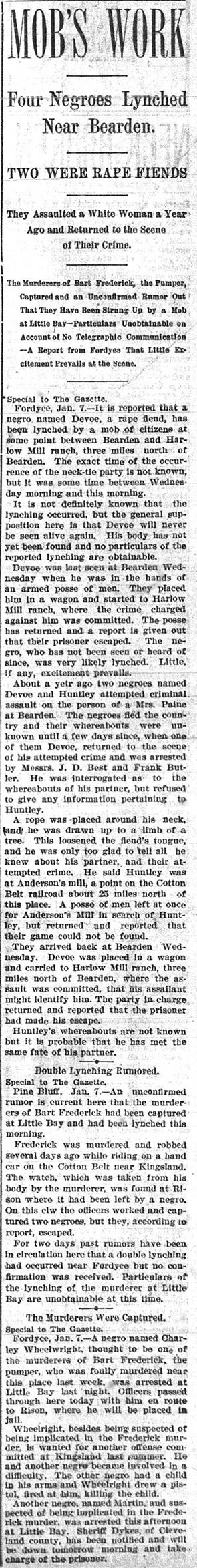 Devoe & Huntley Lynching Article