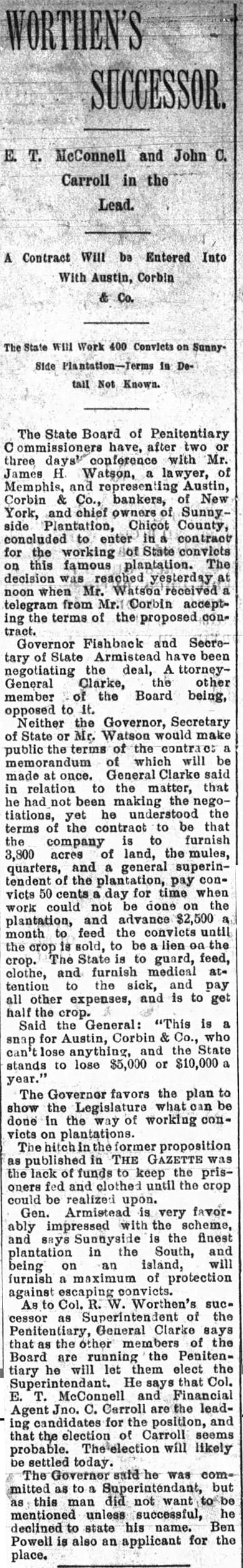 Sunnyside Plantation Convict Labor Article
