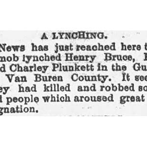 Van Buren County Lynching Article